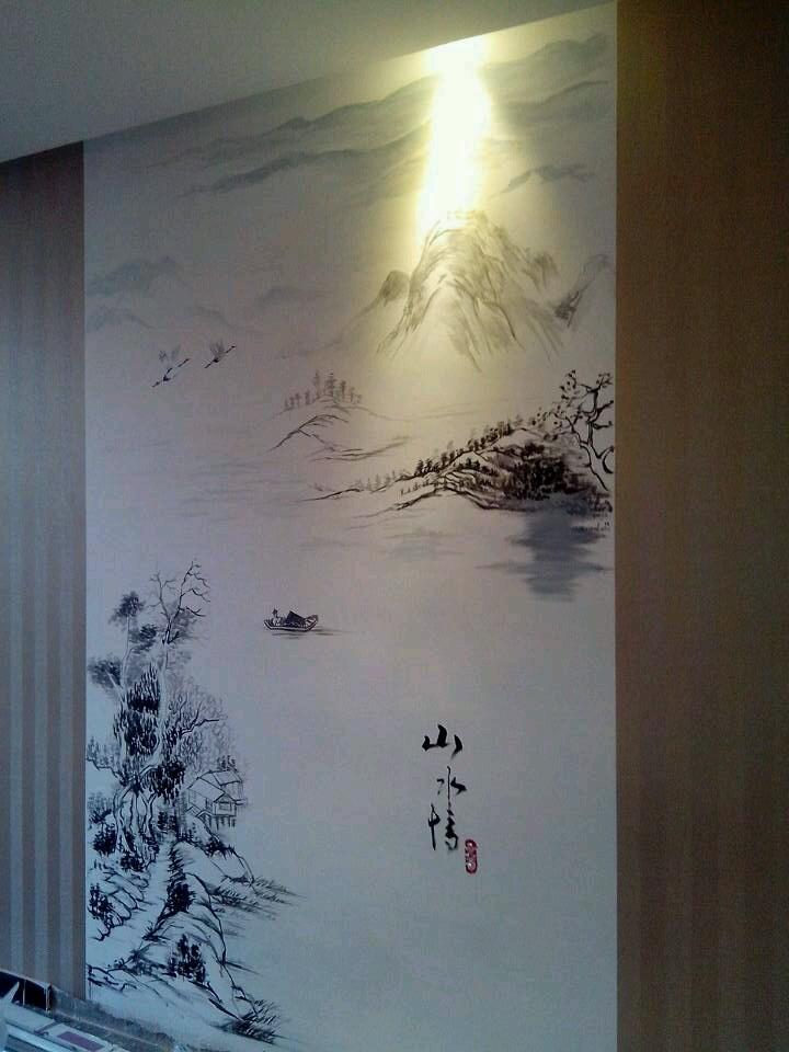 海鲜餐厅包厢手绘墙