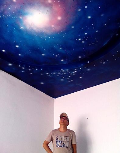 梦幻星空卧室墙绘作品,美轮美奂!